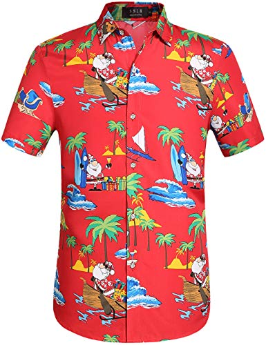 SSLR Men's Xmas Santa Holiday Casual Hawaiian Ugly Christmas Shirts (Large, Red)