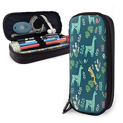 Llama One Sizepencil - Funda de piel de gran capacidad con cremalleras para lápices, organizador de bolígrafos de oficina, caja de papelería unisex