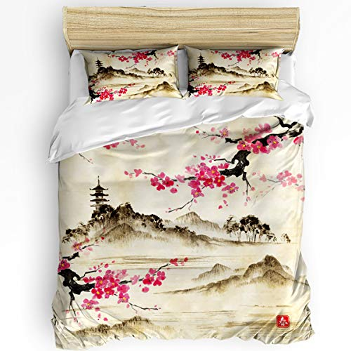 Big buy store Queen Size 3 Pcs Duvet Cover Sets Black and Red Cherry Blossom Tree 1 Bedspread 2 Pillow Cases, Lightweight Comforter Cover Set Bedding Decoration for Kids Childrens Adults