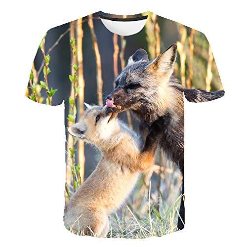 Unisex Sommer T-Shirt 3D Digitaldruck Tier Serie niedlichen Fuchs Muster lässig Männer und Frauen Kurze Ärmel-D_M.