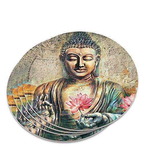 Buddha Pink Lotus Flowers Serenity Novelty Coaster Set