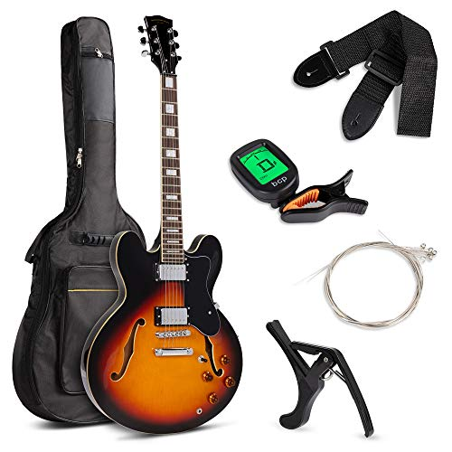 Best Choice Products Semi-Hollow Body Electric Guitar Set w/Dual Humbucker Pickups, 3-Way Pickup Selector, Case, Electronic Tuner, Capo, Strap, Picks, Cutaway Design - Sunburst