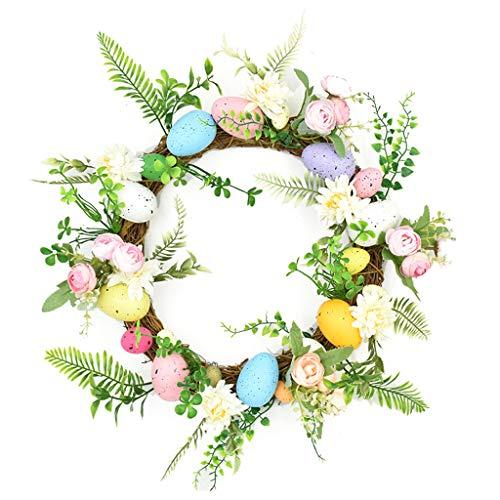 BOBEINI Decorazione pasquale, ghirlanda di uova in rattan, ghirlanda di fiori artificiali per porta, decorazione pasquale
