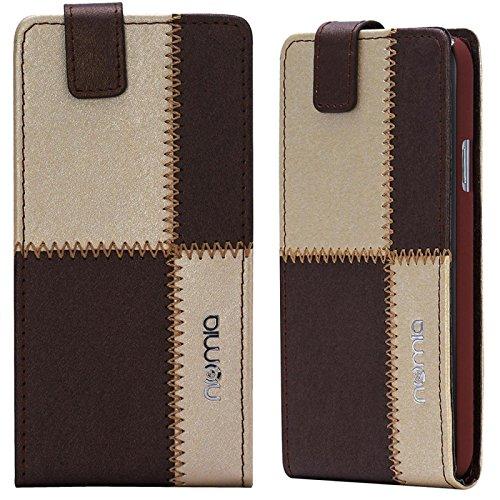 Huawei Ascend G730 Hülle, numia Handyhülle Handy Schutzhülle [Handytasche mit Standfunktion & Kartenfach] Pu Leder Tasche fürHuawei Ascend G730 Hülle Cover [Braun-Beige]