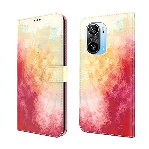 Compatible con Redmi K40/K40 Pro/POCO F3 Funda, Acuarela de Cambio Gradual PU Piel Funda Ranura para Tarjetas y Billetera Protección con Magnético Cierre Caso para Xiaomi POCO F3,Rojo Naranja