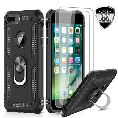 LeYi iPhone 8 Plus Case, iPhone 7 Plus Case, iPhone 6 Plus Case with Tempered Glass Screen Protector [2Pack], Military Grade Phone Case with Rotating Holder Kickstand for Apple iPhone 6s Plus, Black