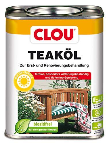Clou Teaköl: Holzöl zum Imprägnieren, Auffrischen & Pflegen, Innen & Aussen, UV-Schutz, Farblos, 750 ml