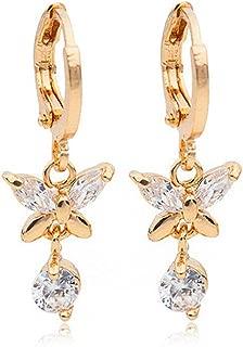 Women Elegant 18k Gold Filled Zircon Crystal Butterfly Dangle Ear Hoop Earrings