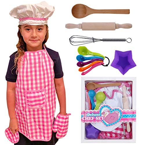 Lolo Toys Kids Baking Set Cooking Apron - 13 Piece Children Kitchen Bake Playset Accessories for Girls Includes Chef Hat, Apron, Cupcake Mold, Measuring Spoons, Oven Glove, Mitt, Play Whisk Spoon