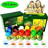 Magicdo Fingerfarben Kinder Ungiftig 12 Farben Waschbar Fingermalfarben Kleinkind Finger Paint Set, Fingermalfarben für Kinder DIY, geeignet zum Malen in Kindergarten, Schule, Therapie und zu Hause