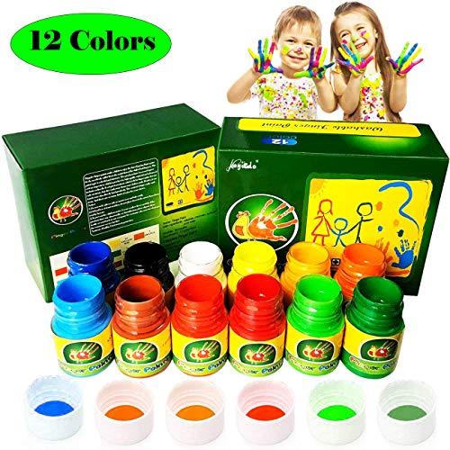 pintura de dedo para niños,12 colores lavable Pinturas para niños no tóxicas, Pintura de bebé segura para manos y pies, 12 Kits de pintura artística con dedos para niños, de color natural y ecológico