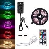 Sunix Kit de Ruban LED RGB 2M 5050 SMD 60 LEDs, Adapteur Flexible Strip Light + télécommande à Infrarouge 44 Touches +...
