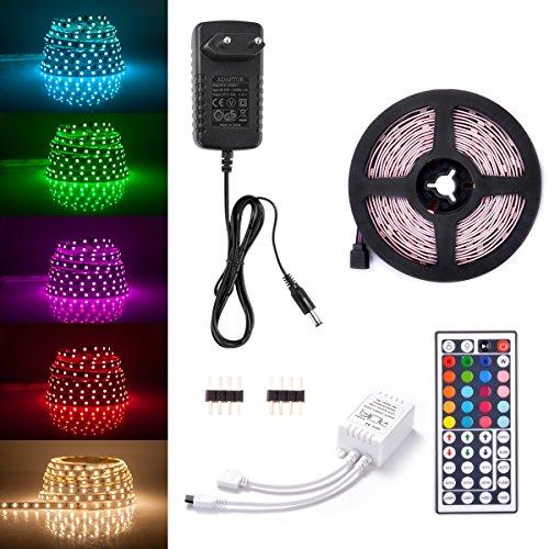 Sunix Strisce LED RGB 2M, luce luminosa striscia 60 5050 SMD LED con 44 tasti di telecomando + Alimentatore con spina di EU