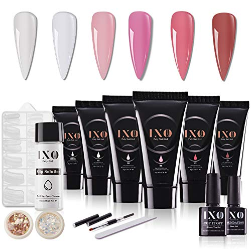 IXO Poly Nail Extension Gel Set, 15g 6PCS Enhancement Builder with Glossy Top Gel and Base Gel, All-in-One Manicure Kit Gift Set for Nail Art Salon DIY at Home