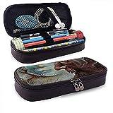 Estuche de lápices de piel de lobo de ilusión óptica surrealista, bolsa de maquillaje de viaje, caja de soporte de bolsa