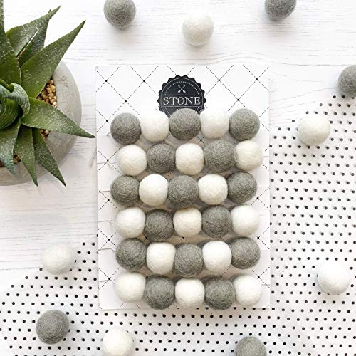 Felt Ball Pom Pom Garland in Dove Grey and White For Nursery and Home, From Stone And Co