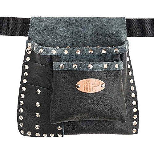 Clouté Emilia - Lady en cuir véritable, noir, rivets Chrome, ceinture inclus