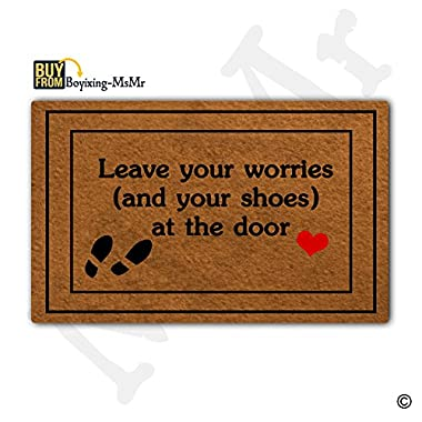 MsMr Doormat Entrance Floor Mat Funny Doormat Leave Your Worries (And Your Shoes) At The Door Door mat Decorative Indoor Outdoor Doormat Non-woven Fabric Top 18 x30
