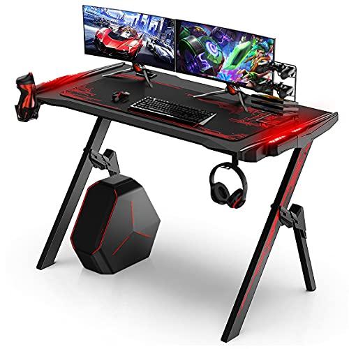 Geepro Scrivania da Gioco con LED RBG, Scrivania Gaming Ergonomico a Forma di R, con Porta Tazza e Gancio per Cuffie, Sopporta Il Peso di 118 kg, 120x60x75cm, Rosso
