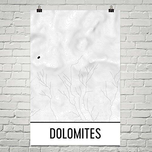 Dolomieten, Dolomieten Print, Dolomieten Berg Range, Italië Print, Topografische Kaart, Contour Lines, Wandelen geschenk, Italiaans, Mountain Poster