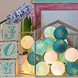 Romantic Battery Operated Cotton Ball Fair String Lights, 20LED / 10FT Decorative String Lights Indoor Outdoor for Halloween Set Up, Girls bedroom,Store,Party, Home, Patio Lawn (Tiffany blue)