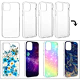 Vetivr 4 Pieces Transparent DIY Phone Case DIY Epoxy Resin Mobile Phone Case Anti-Slip Clear Phone Case Including 2 Hard Shells and 2 Soft Shells Compatible with iPhone 12/12 Pro 6.1 inch