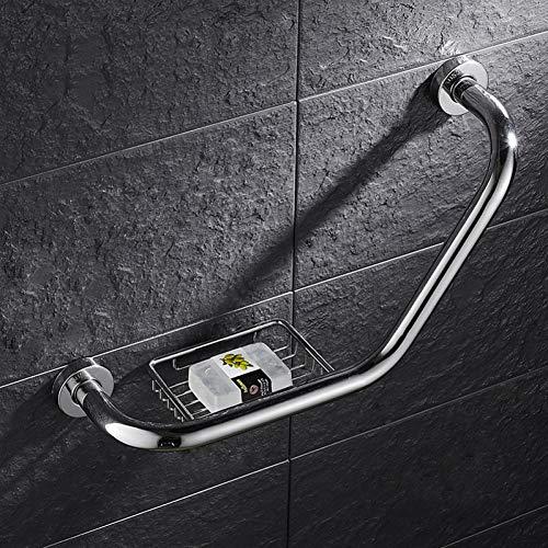 YUVWE Wandsteun RVS Handgrepen Badkamer Badkuip Handrail Met Zeep Schaal invaliditeit Help Veiligheid Help Handvat