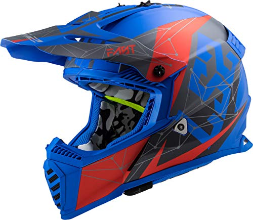 LS2 MX 437 Fast Evo Alpha - Casco para motocross, color azul mate
