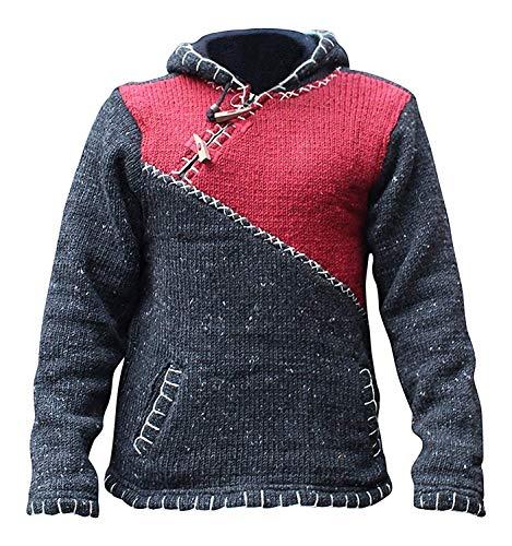CRUZ CON CREMALLERA ESCOTE Súper Suéter De Abrigo Estilo Jersey, Hippy Bohemio De Lana Sudadera Con Capucha - Granate, L