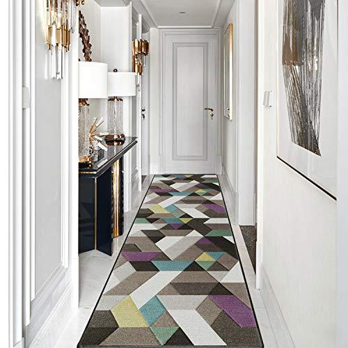 Goodming Korridor Teppich 90x440cm, Teppich Läufer, Lichtbeständig, Schwer entzündlich, Staub Waschbar, für Geeignet, Lichtbeständig, schwer entzündlich, trittschalldämmend.