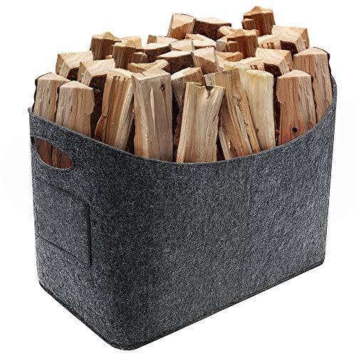 Vintoney - Cesta de fieltro para leña de chimenea (53 x 30 x 40 cm)
