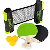 Pong on The Go Portable Table Tennis Playset - Comes with Net, 2 Black/Green Paddles, 3 Balls, and Carry Bag -...