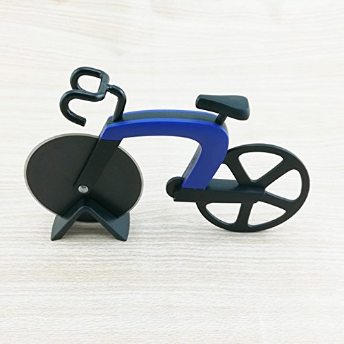 Cutogain Pizzaschneider in Fahrradform, aus Edelstahl und Kunststoff, Küchenwerkzeug blau