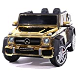 2021 Licensed Maybach 12V Battery Powered Ride on Toy Kids Car with MP3 Parental Remote Leather Seat (Purple) (Gold)
