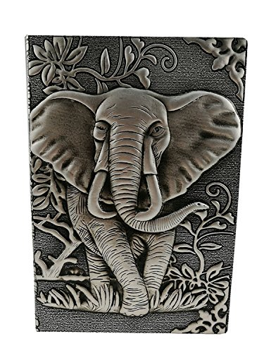 Personalized 3D Embossed Leather Retro Elephant Pattern Travel Journal Notebook Daily Planner For Christmas Birthday Friends Family Gift (Grey)