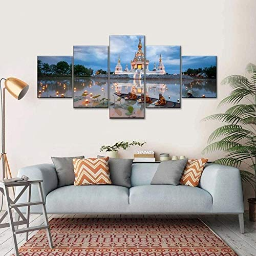 IKDBMUE Cuadros Modernos Impresión de Imagen Monjes jóvenes y linternas flotantes Artística Digitalizada   Lienzo Decorativo para Tu Salón o Dormitorio 5 Piezas 150 x 80 cm