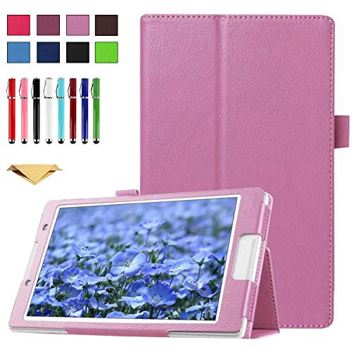 TianTa Funda para Lenovo Yoga Tab 3 10.1 X50L X50F, PU Cuero Slim Folding Soporte Cover Case con Auto Sleep/Wake para Yoga Tab3 10.1-Pulgada Tablet, Rosado