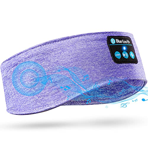 Auriculares de Dormir con Diadema Bluetooth, HD HiFi Bluetooth Inalámbrico 5,0 Auriculares Diademas Deportivos de Música con Auriculares Delgados Integrados (Morado)