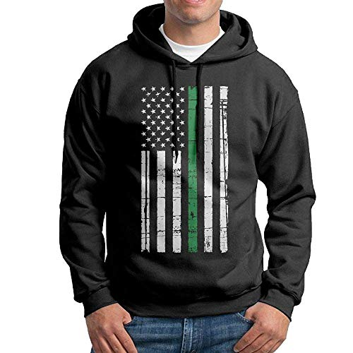 Jeffhd_tee Thin Green Line American Flag Men's Hooded Sweatshirt Hoodies