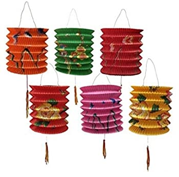 DMtse 12CM Diameter Pack of 12 Mix Colour Chinese New Year Paper Lanterns  Assorted