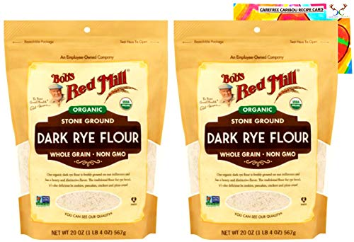 Bob's Red Mill Organic Dark Rye Flour Bundle. Includes Two (2) 20oz Packages of Bob's Red Mill Organic Dark Rye Flour and a Dark Rye Flour Recipe Card from Carefree Caribou!