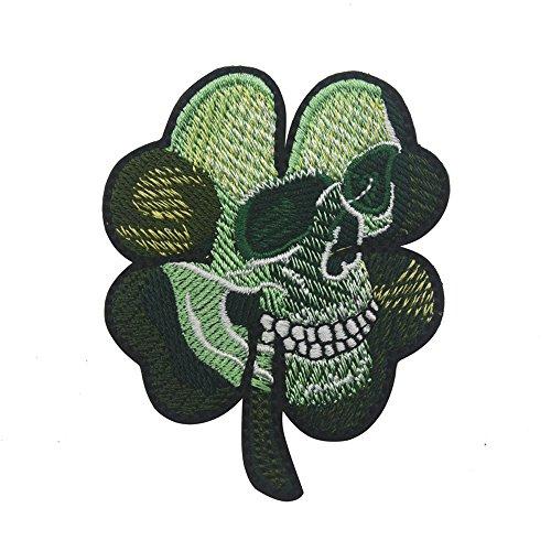 Irish Clover Shamrock Skull Head Biker Tactical Morale Badge Emblem Embroidered Sew On Applique Patch  (Green Skull)