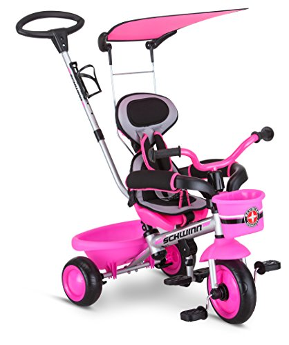 Schwinn Roadster Kids Tricycle, Easy Steer 4 in 1 Tricycle , Pink