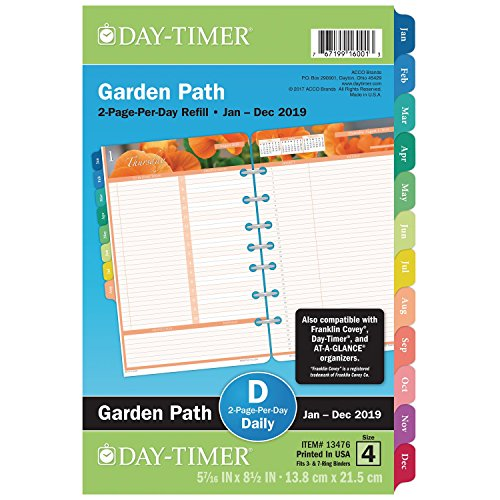 """Day-Timer 2019 Daily Planner Refill, 5-1/2"""" x 8-1/2"""", Desk Size 4, Two Pages Per Day Loose Leaf, Garden Path (13476)"""