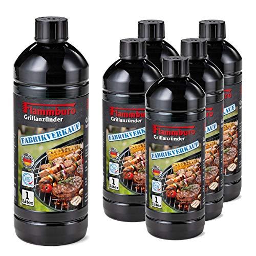 FLAMMBURO (6 Liter) Grillanzünder 1000 ml, Flüssiganzünder 1L, Anzünder flüssig 1 L - 6 x 1 Liter = 6 Liter