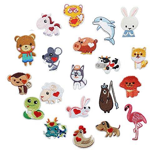 20 parches de animales bordados, para perros, flamencos, conejos, apliques para ropa, planchar o coser en parches, con motivos de apliques