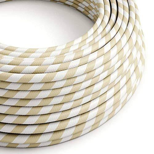 creative cables Cable Eléctrico Redondo Vertigo HD Recubierto en Textil Crema y Avellana ERM56-10 Metros, 3x0.75