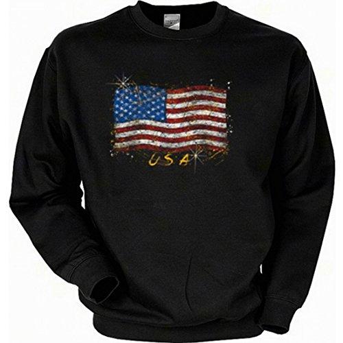Unbekannt Sweatshirt mit Motiv - Amerikanische Flagge Stars and Stripes - USA Sweater Amerika, Größe:XXL