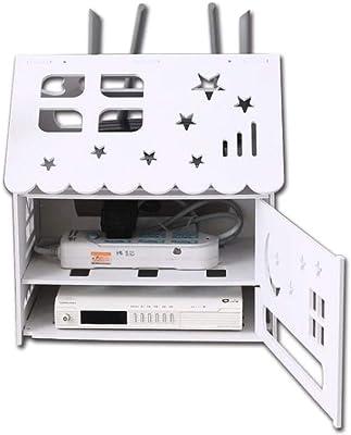 HZWDD Decodificador Caja de Almacenamiento WiFi Estante de enrutador inalámbrico de 3 Capas Panel Compuesto de Madera para el hogar Cable de alimentación Caja de Acabado Caja Blanca Decorativa de