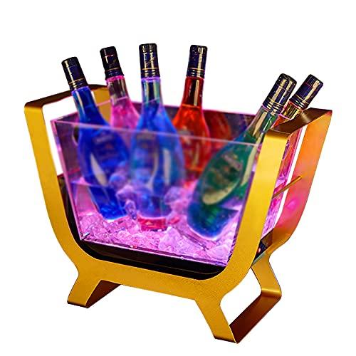 Cubitera Hielo LED, Cubitera para Vino de Gran Capacidad, con 7 Colores Que Cambian, Cubiteras para Cerveza, Bebida de Vino Y Champán A Prueba de Agua, se Aplica A la Fiesta/Hogar/Bar